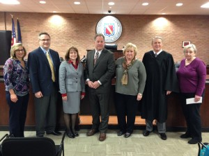 Left to Right: Town Clerk Christine O'Reilly-Rao, Receiver of Taxes Margaret Schmitz, Councilperson Melissa K. Wagner, Councilperson Gary Baright, Town Justice Stephen O'Hare, Dutchess County Legislator Dale Borchert (District 3), and Dutchess County Legislator Donna Bolner (District 13).